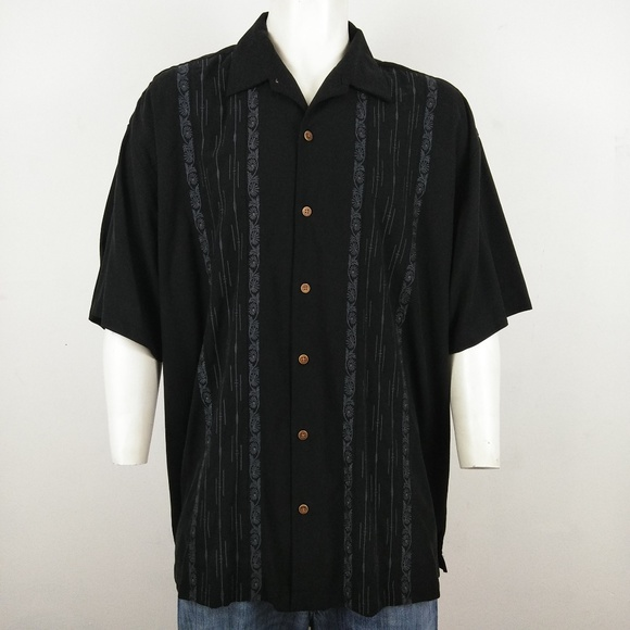 d752a4408a Tommy Bahama black embroidered silk men's shirt
